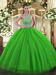Exquisite Sleeveless Tulle Floor Length Lace Up 15 Quinceanera Dress in with Beading