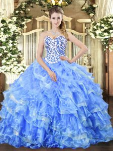 Elegant Floor Length Ball Gowns Sleeveless Blue 15 Quinceanera Dress Lace Up