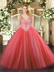 Pretty Floor Length Lace Up Quinceanera Gowns Coral Red for Military Ball and Sweet 16 and Quinceanera with Beading