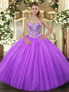 Ball Gowns 15th Birthday Dress Lavender Sweetheart Tulle Sleeveless Floor Length Lace Up