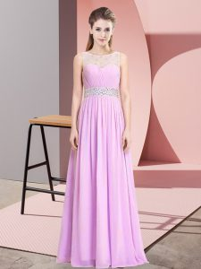Affordable Floor Length Empire Sleeveless Lilac Prom Dress Lace Up