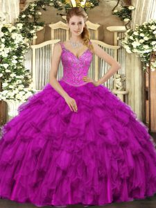 Low Price Sleeveless Organza Floor Length Lace Up Sweet 16 Dresses in Fuchsia with Beading and Ruffles