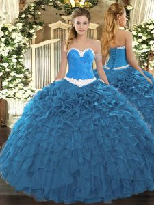 Glittering Sleeveless Floor Length Appliques and Ruffles Lace Up Quinceanera Gowns with Blue