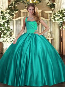 Ball Gowns Quinceanera Dress Turquoise Halter Top Satin Sleeveless Floor Length Lace Up