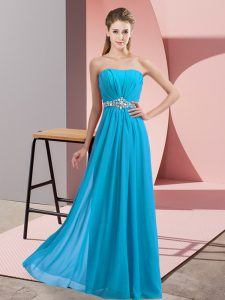 Baby Blue Lace Up Strapless Beading Evening Dress Chiffon Sleeveless