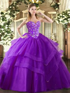 Eggplant Purple Sleeveless Tulle Lace Up Quinceanera Gown for Military Ball and Sweet 16 and Quinceanera