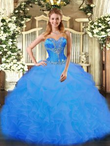 Beauteous Organza Sleeveless Floor Length Quince Ball Gowns and Beading and Ruffles