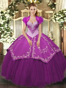 Purple Sweetheart Lace Up Beading and Embroidery Vestidos de Quinceanera Sleeveless