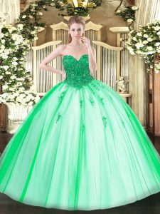 Floor Length Turquoise 15th Birthday Dress Tulle Sleeveless Beading