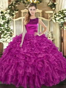 Super Floor Length Fuchsia Quinceanera Dress Scoop Sleeveless Lace Up