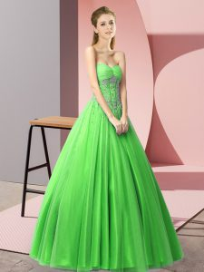 Green Lace Up Sweetheart Beading Prom Evening Gown Tulle Sleeveless