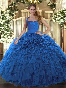 Smart Floor Length Blue 15 Quinceanera Dress Halter Top Sleeveless Lace Up