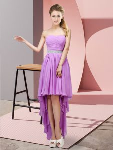 Colorful Lavender Sleeveless Chiffon Lace Up Evening Dress for Prom and Party