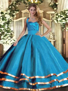 Dazzling Baby Blue Tulle Lace Up Halter Top Sleeveless Floor Length Ball Gown Prom Dress Ruffled Layers