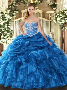 Sophisticated Sweetheart Sleeveless Quinceanera Dresses Floor Length Beading and Ruffles and Pick Ups Blue Organza