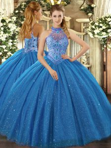 Blue Ball Gowns Beading and Embroidery Quinceanera Dress Lace Up Tulle Sleeveless Floor Length
