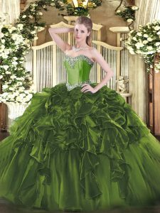 Ball Gowns Quinceanera Dresses Olive Green Sweetheart Organza Sleeveless Floor Length Lace Up