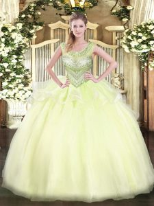 Beautiful Light Yellow Ball Gowns Beading Quinceanera Dress Lace Up Organza Sleeveless Floor Length