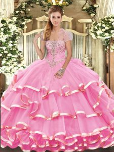 Adorable Organza Strapless Sleeveless Lace Up Appliques and Ruffled Layers Sweet 16 Dresses in Rose Pink