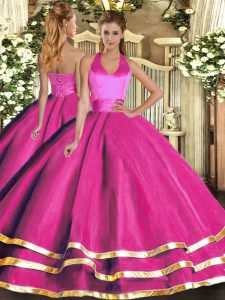 Tulle Halter Top Sleeveless Lace Up Ruffled Layers Vestidos de Quinceanera in Fuchsia