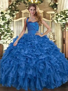 Captivating Halter Top Sleeveless Organza Sweet 16 Dresses Ruffles Lace Up