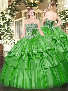 Lovely Floor Length Green Quinceanera Gown Strapless Sleeveless Lace Up