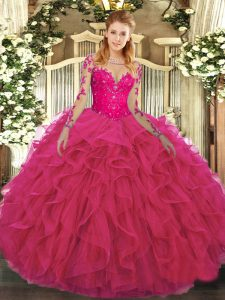 Great Hot Pink Ball Gowns Tulle Scoop Long Sleeves Lace and Ruffles Floor Length Lace Up Ball Gown Prom Dress
