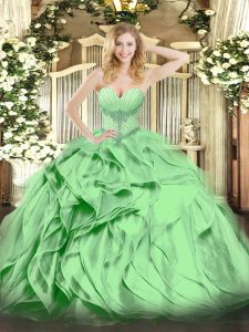 Flare Floor Length Sweet 16 Quinceanera Dress Organza Sleeveless Beading and Ruffles
