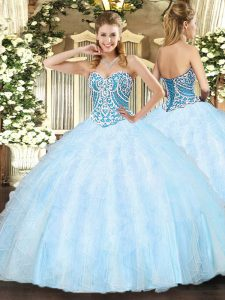 Light Blue Sweetheart Lace Up Beading and Ruffles Quince Ball Gowns Sleeveless
