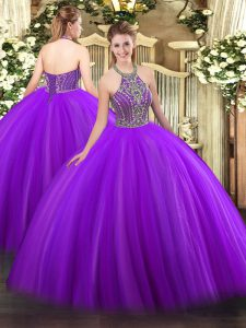 Luxurious Halter Top Sleeveless Quinceanera Gown Floor Length Beading Purple Tulle