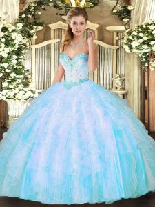 Aqua Blue Sweet 16 Quinceanera Dress Military Ball and Sweet 16 and Quinceanera with Beading and Ruffles Sweetheart Sleeveless Lace Up