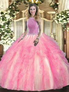 Glittering Rose Pink High-neck Lace Up Beading and Ruffles Quinceanera Gown Sleeveless