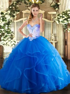 Designer Sweetheart Sleeveless Tulle Sweet 16 Dress Beading and Ruffles Lace Up