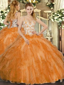 High End Straps Sleeveless Quinceanera Gown Floor Length Beading and Ruffles Orange Tulle