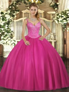 Super Fuchsia V-neck Neckline Beading Ball Gown Prom Dress Sleeveless Lace Up