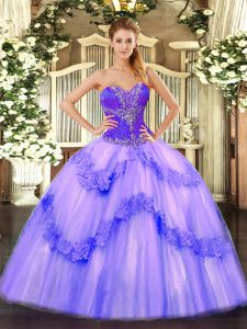 Lavender Sweetheart Lace Up Beading Quinceanera Gowns Sleeveless