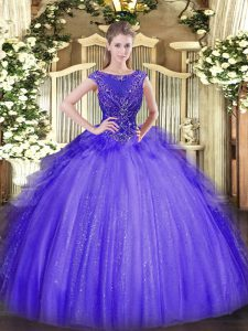 Vintage Scoop Sleeveless Quinceanera Gown Floor Length Beading Lavender Tulle