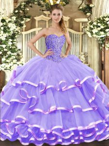 Discount Lavender Ball Gowns Beading and Ruffled Layers Vestidos de Quinceanera Lace Up Organza Sleeveless Floor Length