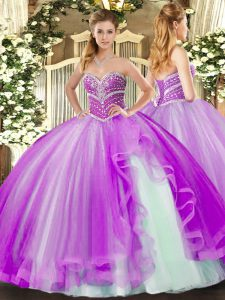 Lavender Sweet 16 Dresses Military Ball and Sweet 16 and Quinceanera with Beading and Ruffles Sweetheart Sleeveless Lace Up