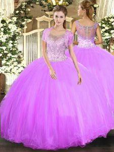 Floor Length Ball Gowns Sleeveless Lilac Ball Gown Prom Dress Clasp Handle