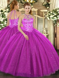 Vintage Halter Top Sleeveless Tulle Quinceanera Dresses Beading and Embroidery and Sequins Lace Up