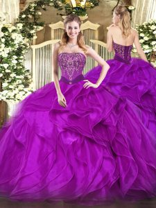 Extravagant Purple Sleeveless Beading and Ruffles Floor Length Quinceanera Dress