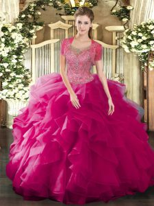 Fuchsia Ball Gowns Tulle Scoop Sleeveless Beading and Ruffled Layers Floor Length Clasp Handle Sweet 16 Quinceanera Dress