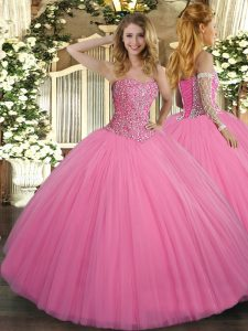 Rose Pink Sleeveless Floor Length Beading Lace Up Quinceanera Dress