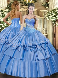 On Sale Baby Blue Sweetheart Neckline Beading and Ruffles Sweet 16 Dresses Sleeveless Lace Up