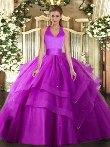 Custom Design Fuchsia Ball Gowns Tulle Halter Top Sleeveless Ruffled Layers Floor Length Lace Up Vestidos de Quinceanera