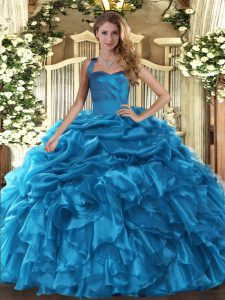 Baby Blue Organza Lace Up 15 Quinceanera Dress Sleeveless Floor Length Ruffles and Pick Ups