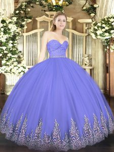Floor Length Zipper 15 Quinceanera Dress Lavender for Military Ball and Sweet 16 and Quinceanera with Beading and Lace and Appliques