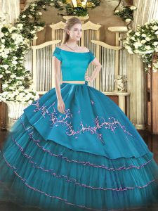 Dramatic Two Pieces 15th Birthday Dress Teal Off The Shoulder Organza and Taffeta Short Sleeves Floor Length Zipper