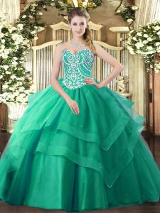 Sleeveless Tulle Floor Length Lace Up Sweet 16 Quinceanera Dress in Turquoise with Beading and Ruffled Layers